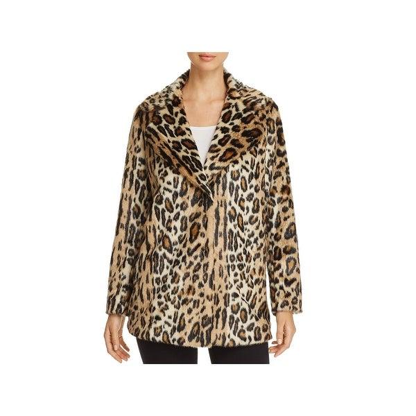 Kenneth Cole New York Womens Faux Fur Coat Leopard Print Jacket