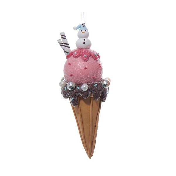 "6.5"" Dessert Delight Snowman Topped Ice Cream Cone Christmas Ornament"