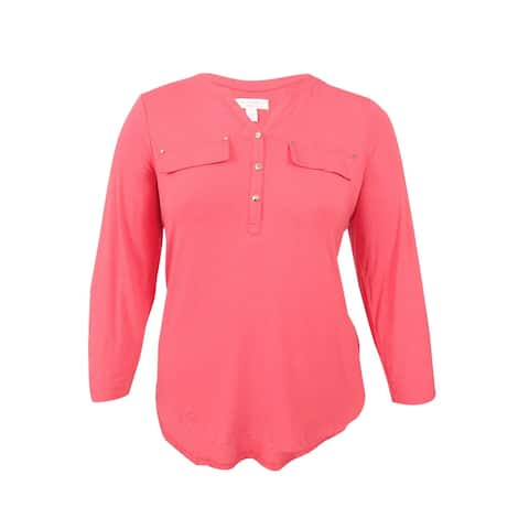 Charter Club Plus Size Utility Henley Top - New Coral