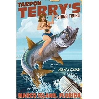 Marco Island, Florida - Pinup Girl Tarpon Fishing - Lantern Press Artwork (Poker Playing Cards Deck)