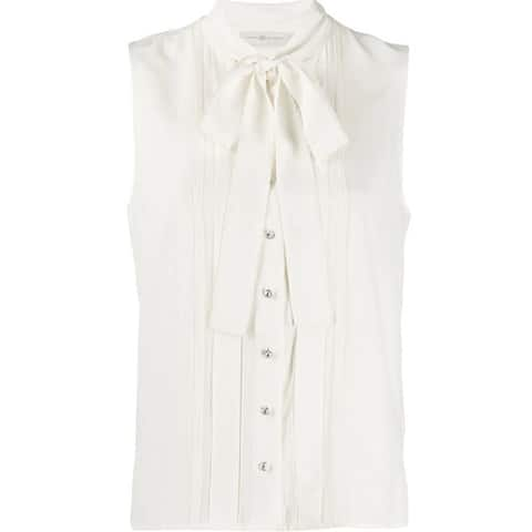 Tory Burch Womens Ivory Bow Tie Sleeveless Blouse Top