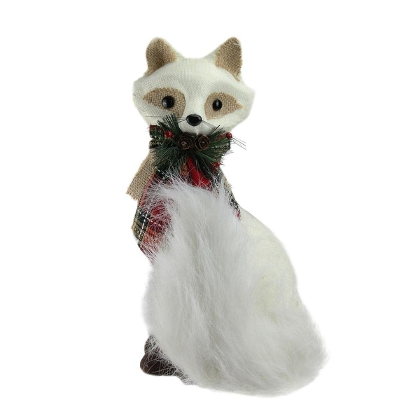 """13"""" Holiday Moments Cream White Fox with Plaid Bow Christmas Decoration - brown"""
