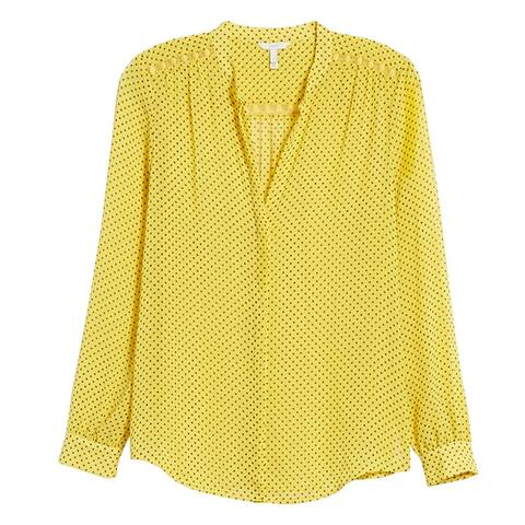 Joie Womens Yellow Polka Dot Mintee Blouse Silk Top
