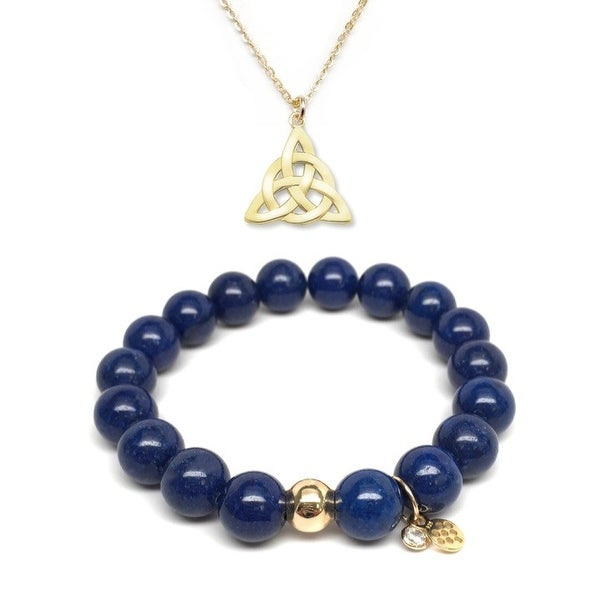 Blue Jade Bracelet & Celtic Knot Gold Charm Necklace Set