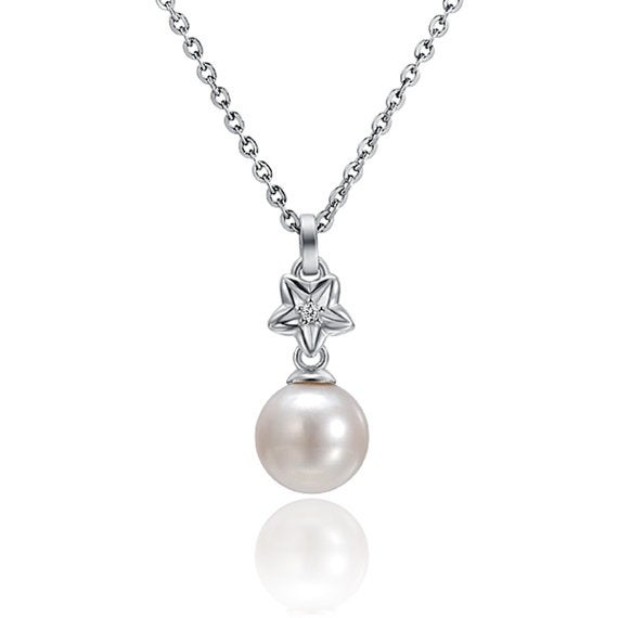 """Starfish Pearl Necklace Sterling Silver Pendant 18"""" Chain"""