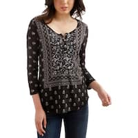 Lucky Brand Womens Peasant Top Printed 3/4 Sleeves