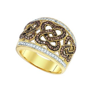 10k Yellow Gold Womens Cognac-brown Colored Diamond Heart Love Cocktail Fashion Ring 1/2 Cttw - Brown/White
