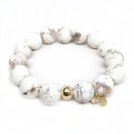 Snow White Agate 'Lauren' Stretch Bracelet, 14k over Sterling Silver