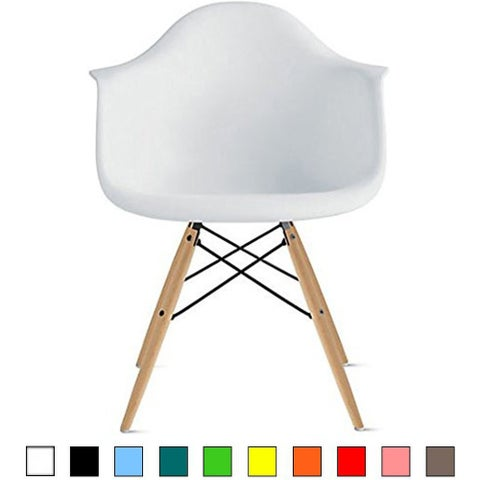 2xhome Plastic Chair Armchair With Arm White Natural Wood Legs Dining