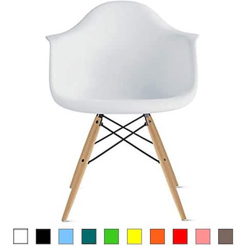 Plastic Chair Armchair With Arm White Natural Wood Legs Dining