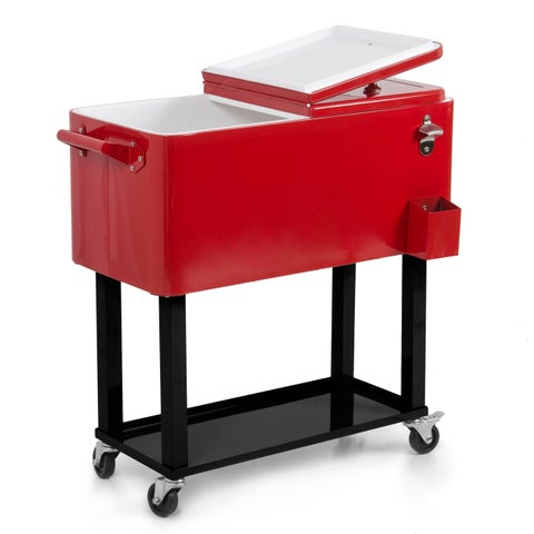 Belleze 80 Quart Patio Deck Cooler Rolling Outdoor Party Home, Red