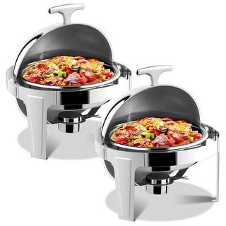 Gymax 2 Packs Stainless Steel Round Roll Top Chafer 6 Qt Chafing Dish Buffet Catering
