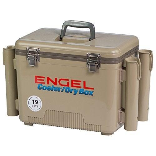 ENGEL COOLERS 19 QUART COOLER/DRY BOX - TAN W 4 ROD HOLDERS