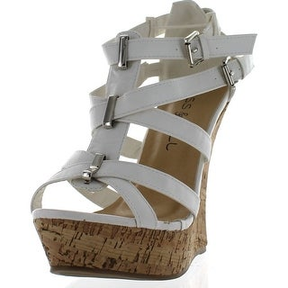 Kiss & Tell Valera-45 Women's Strappy Cork Platform Wedge Sandals