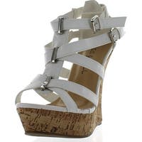 Kiss & Tell Valera-45 Women's Strappy Cork Platform Wedge Sandals - White