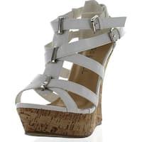 Kiss & Tell Valera-45 Women's Strappy Cork Platform Wedge Sandals