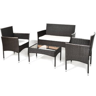 Costway 4PCS Patio Rattan Wicker Furniture Set Cushioned Chair Glass Table Top Garden