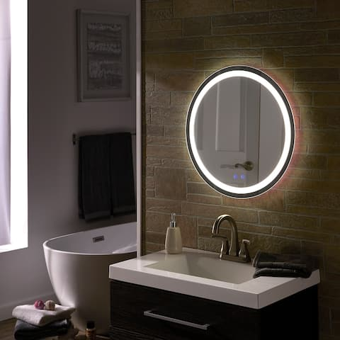 Rion Touch LED Anti-Fog Round Vanity Wall Mirror by iNSPIRE Q Modern - Vanity Mirror