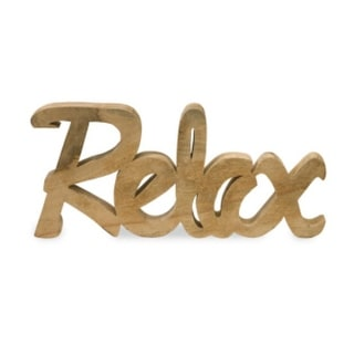 "25.5"" Hand Carved Wooden Letter Message ""Relax"" Table Top Decorative Sign"