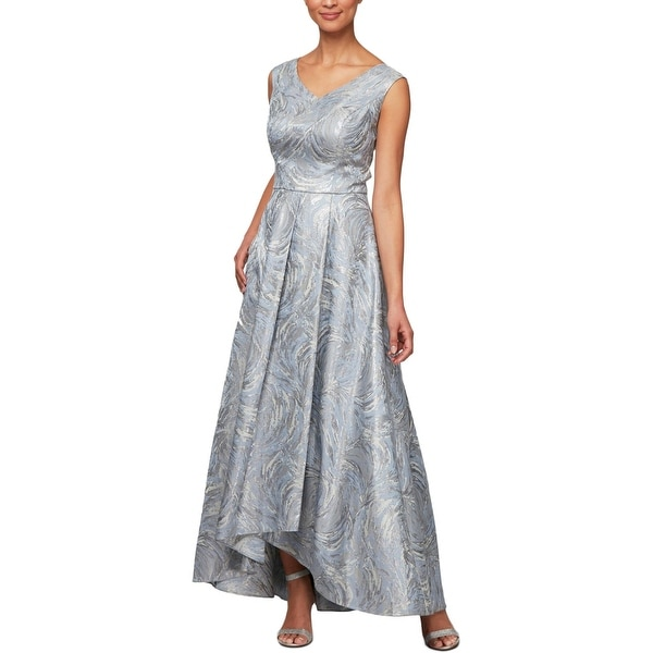 Alex Evenings Womens Evening Dress Metallic Pleated - Silver Multi. Opens flyout.