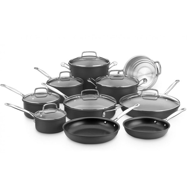 Cuisinart Chef's Classic 17-piece Black Nonstick Hard Anodized Cookware Set. Opens flyout.