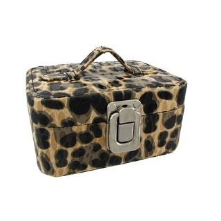 Small Tan Leopard Print Travel Jewelry Chest