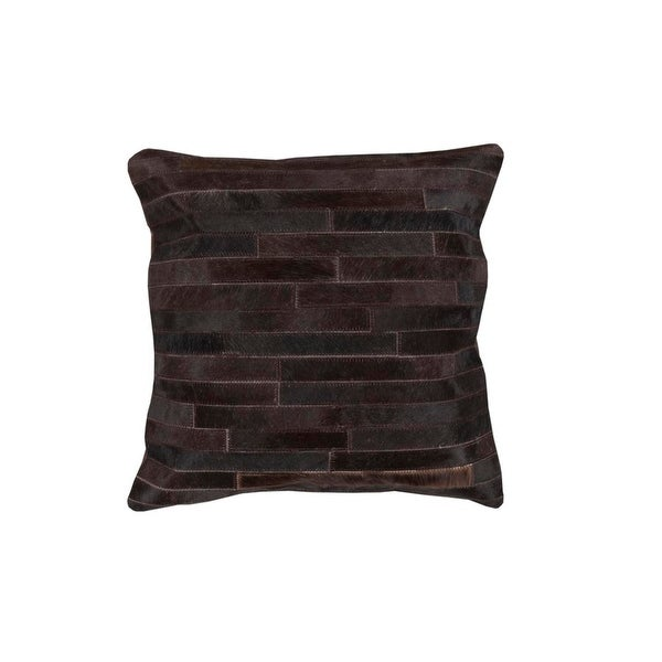 "22"" Black Pearl and Coffee Bean Rustic Tile Patterned Decorative Throw Pillow"