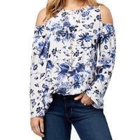 Kensie Blue Women's Size Medium M Floral Cold-Shoulder Blouse