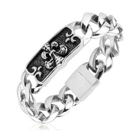 Stainless Steel Chain Bracelet with Fleur De Lis Engraved Plate (17 mm) - 9.25 in