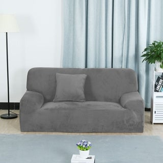 Unique Bargains Silver Gray Elastic Fabric Stretch Sofa Covers Couch Sofa  Slipcovers