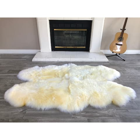 "Dynasty Natural 4-Pelt Luxury Long Wool Sheepskin Light Beige Shag Rug - 3'6"" x 5'6"""
