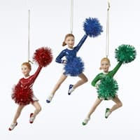 """Club Pack of 12 Red, Green and Blue Cheerleader Girl Christmas Ornaments 6.5"""" - multi"""