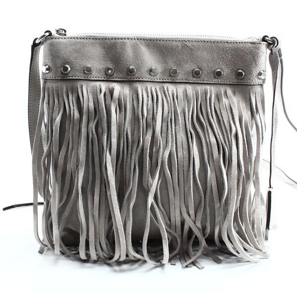 c2d1e8b294be24 Shop Michael Kors NEW Gray Suede Fringe Studded Billy Messenger Bag ...