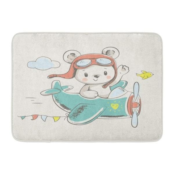 Boy Cute Bear Flying On Plane Cartoon Baby Kid Nursery Girl Doormat Floor Rug Bath Mat 23 6x15 7 Inch Multi On Sale Overstock 31776674