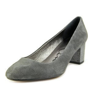 Nina Blondell Women Round Toe Suede Gray Heels