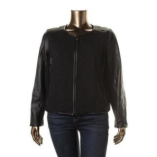 Eileen Fisher Womens Plus Leather Wool Panel Collarless Blazer - 2X