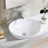 Costway Oval Bathroom Basin Ceramic Vessel Sink Bowl Vanity Porcelain w/ Pop Up Drain - White