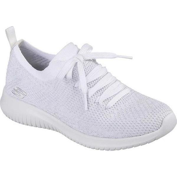 625506aceca4 Shop Skechers Women s Ultra Flex Sneaker White Silver - On Sale ...