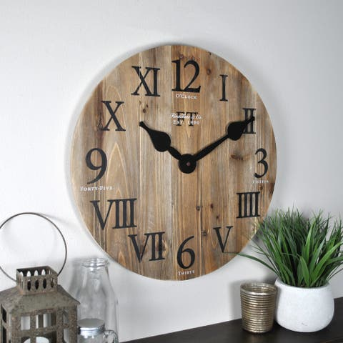 FirsTime & Co.® Rustic Farmhouse Barn Wood Wall Clock, American Crafted, Natural Wood, Wood, 18 x 2 x 18 in - 18 x 2 x 18 in