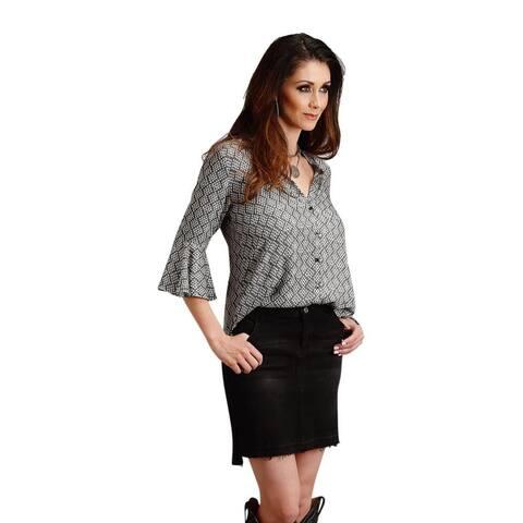 Stetson Western Skirt Womens Raw Edge Denim Slits - Black
