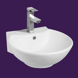 White Wall-Mount Small Vessel Sink Easy Clean and Install Scratch and Stain Resistant