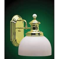 Volume Lighting V4901 Aberdeen Wall Sconce with 1-Light and White Cased Glass - Polished Brass - N/A