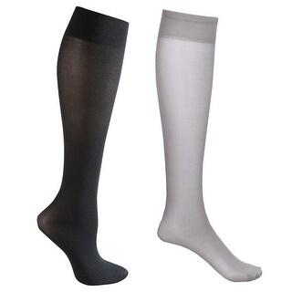 Mild Support 2 Pair Knee High Trouser Socks with 8-15 mmHg Compression - Grey/Black - Medium