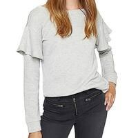 Sanctuary Women's Medium Ruffle Trim Crewneck Sweater
