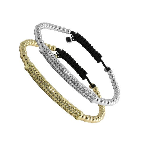 AFONiE Fashion Gold or Steel Color Beaded CZ Bar Bracelet