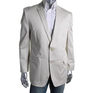 Calvin Klein Mens Solid Notch Collar Two-Button Blazer - 42R