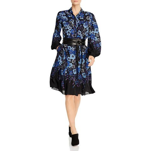 Elie Tahari Womens Hellen Shirtdress Floral Button-Down - Black Multi