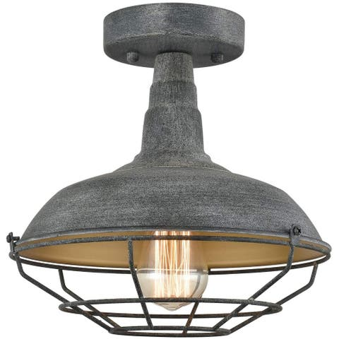 Pistoia Metal Cage Semi-Flush Ceiling Lights Vintage Stained Finish