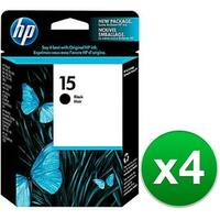HP 15 Black Original Ink Cartridge (C6615DN) (4-Pack)