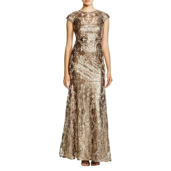 Tadashi Shoji Womens Formal Dress Embellished Mesh Inset